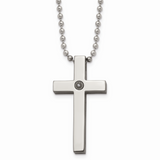 Chisel Polished 1/2pt. Diamond Cross Necklace Titanium TBN156-22