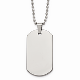Chisel Polished Dog Tag 22 Inch Necklace Tungsten TUN100-22