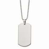 Chisel Polished Dog Tag 24 Inch Necklace Tungsten TUN101-24