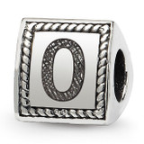 Number 0 Triangle Block Bead - Sterling Silver QRS1429N0