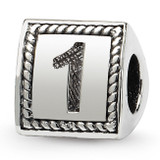 Number 1 Triangle Block Bead - Sterling Silver QRS1429N1
