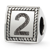 Number 2 Triangle Block Bead - Sterling Silver QRS1429N2