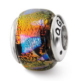 Orange Dichroic Glass Bead - Sterling Silver QRS1468