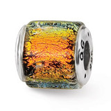 Orange Dichroic Glass Bead - Sterling Silver QRS1480