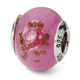 Pink Red Brown Murano Bead - Sterling Silver QRS1565