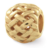 Gold-plated Basketweave Bali Bead - Sterling Silver QRS1618GP