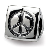 Peace, Smiley Face & Heart Trilogy Bead - Sterling Silver QRS1642