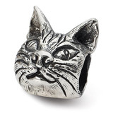 Maine Coon Cat Head Bead - Sterling Silver QRS1789