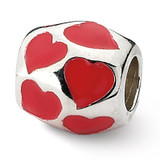 Red Enameled Hearts Bead - Sterling Silver QRS1867
