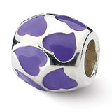 Purple Enameled Hearts Bead - Sterling Silver QRS1870