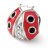 Ladybug with Swarovski Elements Bead - Sterling Silver QRS1925