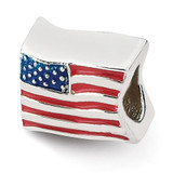 USA Flag Bead - Sterling Silver QRS1930