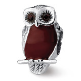 Brown Enameled Wise Owl Bead - Sterling Silver QRS1945