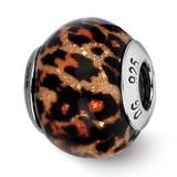 Brown Jaguar Glitter Overlay Glass Bead - Sterling Silver QRS2268