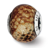 Lt Brown Python Glitter Overlay Glass Bead - Sterling Silver QRS2273