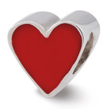 Red Enameled Heart Bead - Sterling Silver QRS2368