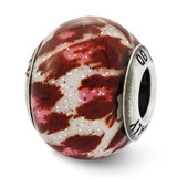 Pink & Brown with Glitter Glass Bead - Sterling Silver QRS2499