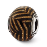 Brown Stripes with Glitter Glass Bead - Sterling Silver QRS2510