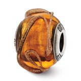 Brown with Textured Lines Glass Bead - Sterling Silver QRS2589