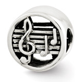 Music Notes & Staff Bead - Sterling Silver QRS2649