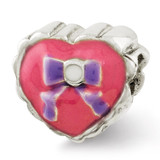 Enameled Heart with Bow Bead - Sterling Silver QRS2659
