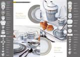 Deshoulieres Arcades Grey & Shiny Platinum Deeep Round Platter, MPN: 032092, UPC/EAN: 3104363026824
