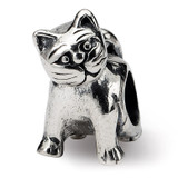 Antique Cat Bead - Sterling Silver QRS271