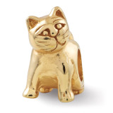 Gold-plated Cat Bead - Sterling Silver QRS271GP