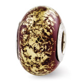 Brown with Gold Foil Ceramic Bead - Sterling Silver QRS2768