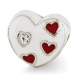 Enameled Heart with Hearts Bead - Sterling Silver QRS2935