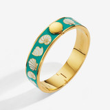 Halcyon Days 13mm Shells Turquoise Cream Gold Hinged Bangle, MPN: HBSHES1413G