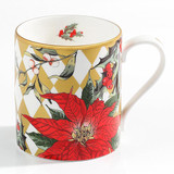 Halcyon Days Parterre Gold with Poinsettia Mug, MPN: BCPAF16MGG