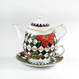 Halcyon Days Parterre Black with Poinsettia Tea for One, MPN: BCPAF02TOG