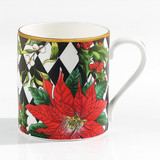 Halcyon Days Parterre Black with Poinsettia Mug, MPN: BCPAF02MGG