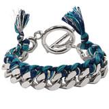 Nikki Lissoni Turquoise Woven Chain Bracelet Silver Plated 19cm, MPN: BC01S19B UPC: 8718627468869