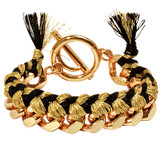 Nikki Lissoni Gold Black Woven Chain Bracelet Gold Plated 21cm, MPN: BC02G21G UPC: 8718627468913