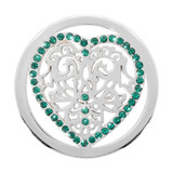 Nikki Lissoni Green Heart Silver Plated 33mm Coin, MPN: C1129SM UPC: 8718627462713