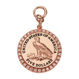 Nikki Lissoni Eagle Coin Charm Rose Gold Plated 31mm Coinx20mm Coin, MPN: DC1021RG31 UPC: