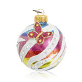 "Jay Strongwater Rainbow Zebra Pattern 3"" Glass Ornament, MPN: SDH20004-202"