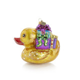 Jay Strongwater Golden Ducky Carrying Gifts Glass Ornament, MPN: SDH20018-250