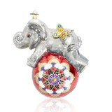 Jay Strongwater Playful Baby Elephant Glass Ornament, MPN: SDH20016-280