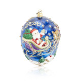 Jay Strongwater 2020 Santa With Reindeer Glass Ornament, MPN: SDH20024-250