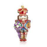 Jay Strongwater Nutcracker With Wreath Glass Ornament, MPN: SDH20012-250