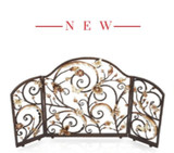 Jay Strongwater Vincente Fireplace Screen - Gold & White, MPN: SHW3256-432