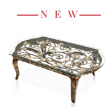 Jay Strongwater Floral & Scroll Coffee Table, MPN: SHW3299-432