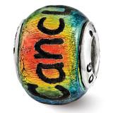 Cancun Orange Dichroic Glass Bead - Sterling Silver QRS3110