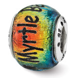Myrtle Beach Orange Dichroic Glass Bead - Sterling Silver QRS3112