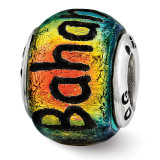 Bahama Orange Dichroic Glass Bead - Sterling Silver QRS3115
