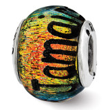 Jamaica Orange Dichroic Glass Bead - Sterling Silver QRS3117