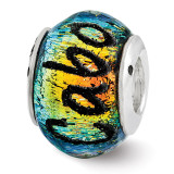 Cabo Dichroic Glass Bead - Sterling Silver QRS3124
